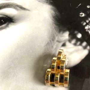 Couture Crescent Clip Earrings, Link Signature